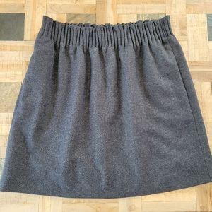 J. Crew Grey Herringbone Pattern Wool Skirt